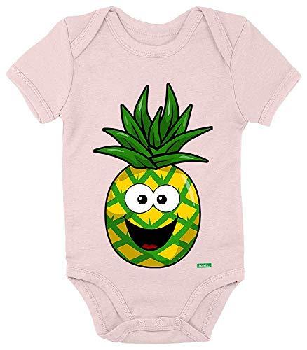 HARIZ Body de manga corta para bebé con diseño de piña sonriente y fruta, dulce y dulce tarjeta de regalo, algodón de azúcar rosa, 0-3 meses