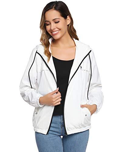Abollria Damen Regenjacke Leichte Kurze Jacke mit Atmungsaktiv Futter Herbst wasserdichte Übergangjacken mit Kapuze,Weiß,XL