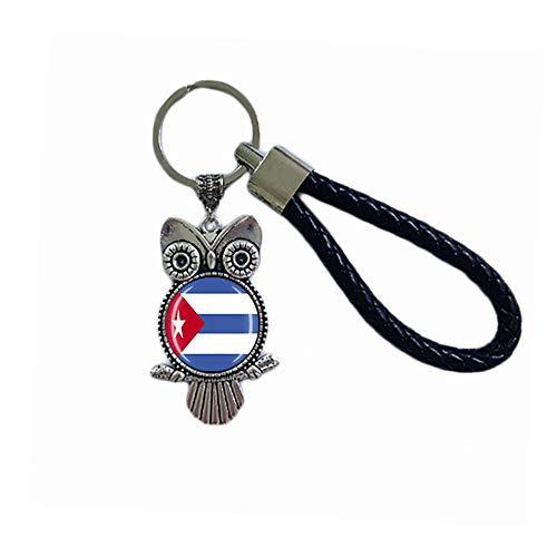 Porte-clés souvenir en forme de hibou avec drapeau cuba en verre et cristal
