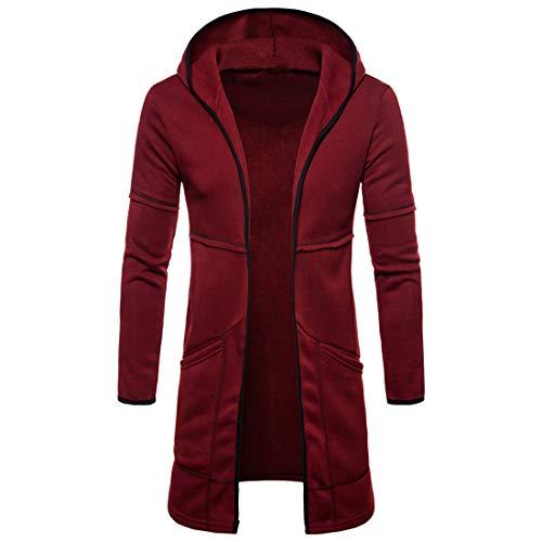 ZCZH - Chaqueta de punto para hombre con capucha, manga larga, corte ajustado, con capucha 2020, para otoño e invierno, estilo vintage, para entretiempo D-rojo. M