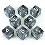 Paladin Roleplaying Gray and Black Dice - 8 D6 Set - 'Claws of Darkness'