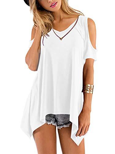 Beluring Tops Damen Sommer T Shirt Oberteil Tops Bluse mit V Ausschnitte, A-weiß, 52-54 (Herstellergröße: XL)