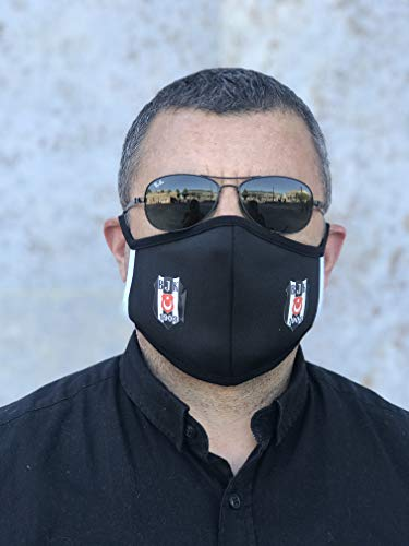 Gök-Türk Unisex Schwarze Maske Mundschutz für Radfahren Anti-Staub Gesichtsmaske für Fussballfans Besiktas (Mundschutz)