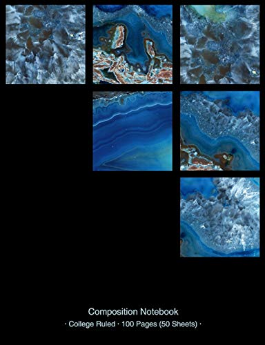 Composition Notebook: Blue Agate Squares Photo Collage - College Ruled Notebook Creative Writing School Journal