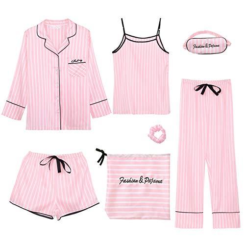 NFSQ Pink Ms. Lot de 7 patins à pajamas Imitation Silk Striped Pajamas Ms. Spring Summer Home Wear, Couleur 1, Medium
