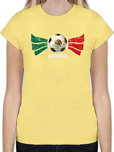 Fußball-Europameisterschaft 2020 - Mexico Fußball Vintage - S - Lemon Gelb - L191 - Tailliertes Tshirt für Damen und Frauen T-Shirt