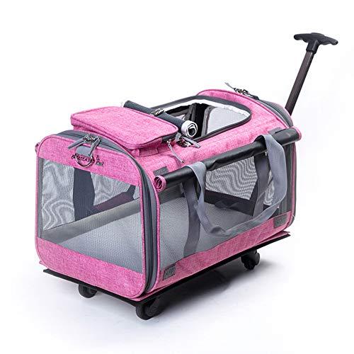 Kismaple Pet Pieghevole carrelli con Quattro Ruote Trolley per Cani, Gatti, Cuccioli Passeggini, Trasportino Viaggio Borsa da Trasporto Traspirante con Maniglia telescopica, per Fino 10kg (Rosa)