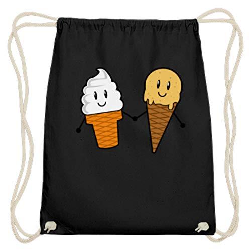 SPIRITSHIRTSHOP Allerbeste Freunde Eis Creme - auch als Geschenk für ein Kind - Baumwoll Gymsac -37cm-46cm-Schwarz