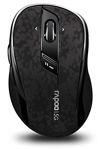 RAPOO 5.8GHz Wireless Mouse with Side Buttons, 4D Scroll Wheel, Programmable Buttons, 500/1000 DPI, Black