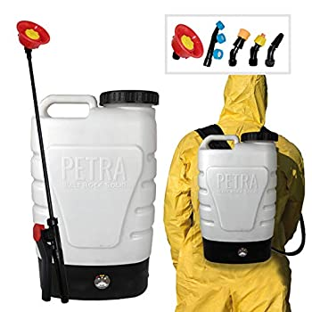 PetraTools 3-Gallon Battery Powered Backpack Sprayer – Extended Spray Time Long-Life Battery - New HD Wand Included Wide Mouth Lid Comes with Multiple Nozzles & Battery Included 65+ PSI