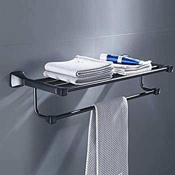 Wall Towel Ring Holder Hanger Bath Black Towel Rack Towel Rail Space Aluminum