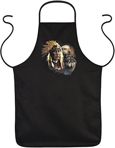 Indianer-Grill-Spaß-Schürze/Fun-Koch/Grill-Schürze: Indianer mit Wolf und Adler - Party/Fun-Schürze/USA-Design