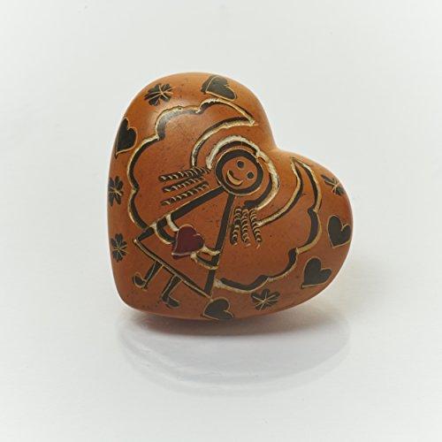 Handschmeichler Herz mit Engel Motiv, Schutzengel aus Speckstein ca. 4,0 cm, Farbe Orange - Handmade, jedes Teil ist ein Unikat. Handgefertigt in Kenia.