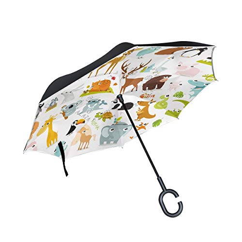 XiangHeFu Double Layer Inverted Reverse Umbrellas Animals Cow Deer Fox Folding Windproof UV Protection Big Straight for Car with C-Shaped Handle