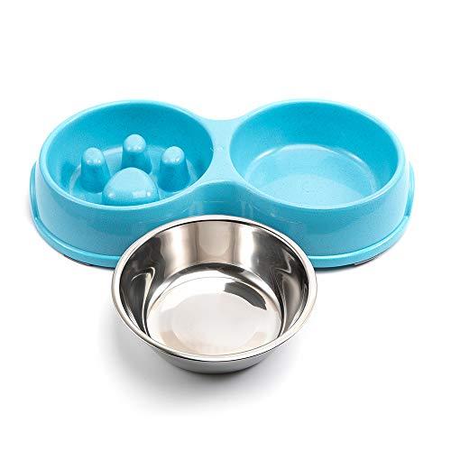 evomosa Comedero para Perros, Alimento para Gatos Recipiente de Agua de Acero Inoxidable Alimentador de Plástico para Mascotas - Anti-Asfixia/Anti-Trago/para Cachorros Perros Pequeños Gatos