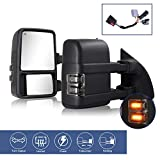 2pcs Towing Mirrors Compatible With 1999-2016 Ford F250 F350 F450 F550 Super Duty Truck Pickup Side Tow Mirrors, Power Heated Extendable Manual telescoping&folding Pair LED Turn Signal Lights Smoke