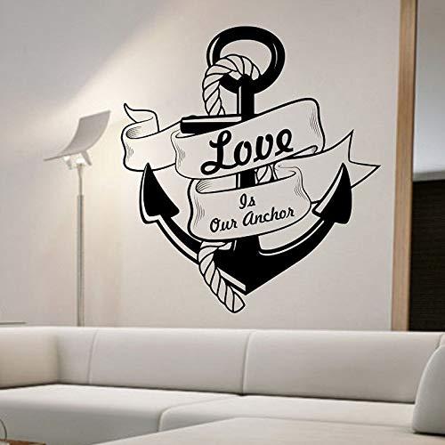 Etiqueta de la pared del ancla el amor es nuestra etiqueta de la pared del ancla mural extraíble decoración del hogar decoración de la sala de estar etiqueta de la pared A2 66x59cm