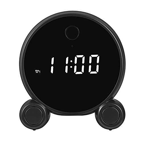 Tuya Smart Life Mini cámara reloj despertador, batería inalámbrica Wifi HD 1080P Detección de movimiento Micro cámara Grabadora Videoportero Vigilancia doméstica Monitor de bebé,Negro,Clock+ 64GB