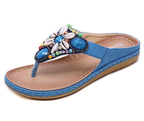 Sandalias de verano para mujer, bohemias, sandalias planas, a la moda, color, talla 35 EU
