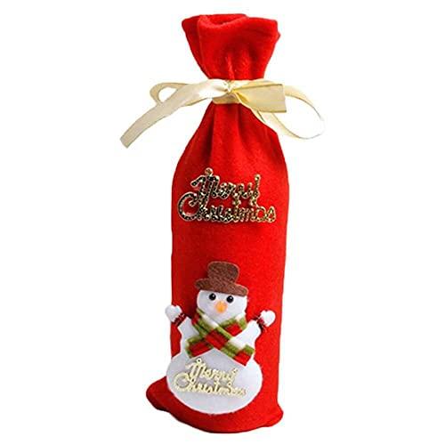 chaosong shop Bolsas de vino de Navidad para botellas de vino tinto para decoración de mesa de fiesta en el hogar