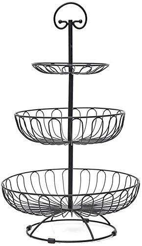 Apark Frutero de 3 Pisos, Desmontable Metal Cesta Fruta, para Conservan Frutas, Verduras, Bocadillos o Pan, Tamaño de la Cesta de Frutas: 16CM, 24CM, 30CM, Altura: 40CM (Negro)