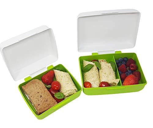 Angebot 2 zum Preis von Einer greenline Lunchboxen-Set JOGI hergestellt aus Natürlichem Bio-Kunststoff aus Zuckerrohr: Kleine Lunchbox + Bento Box mit 2 Fächern Spülmaschinenfest Mikrowellengeeignet