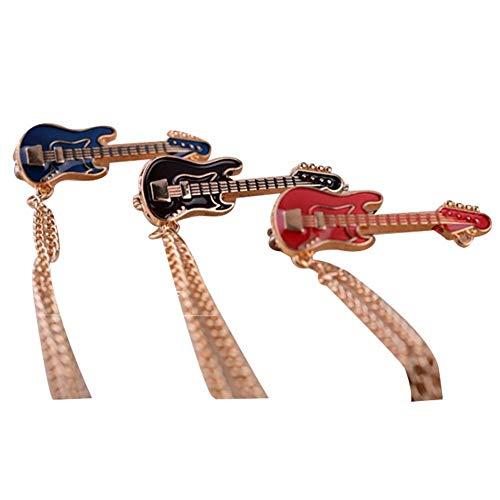 3 piezas retro guitarra traje camisa suéter collar cadena broche corbata pin collar para hombres mujeres