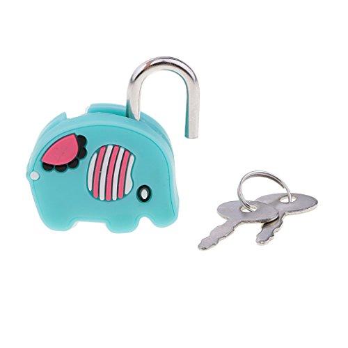F Fityle Lock Collectibles Padlock Cartoon Doll Animal Keys - 1# Green Elephant, as described