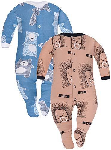 Sibinulo Jungen Mädchen Schlafstrampler mit ABS 2er Pack Igele Marineblau Bären 80(9-12 Monate)