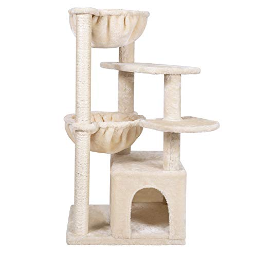 Hey-bro 39.37 inches Cat Tree with Luxury Condo, Cat Tower with 2 Cozy