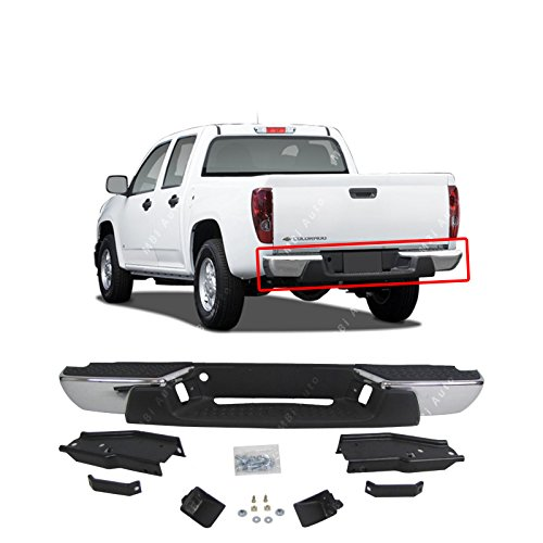 MBI AUTO - Steel Chrome, Rear Step Bumper for 2004 2005 2006 2007 Chevy Colorado & GMC Canyon, GM1103145