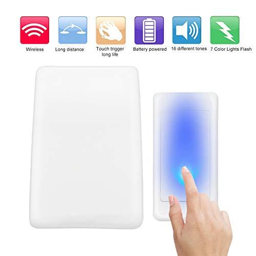 Topiky draadloze deurbel, Home 7 kleur lichten Flash + muziek deurbel met 30-50m / 98.4-164ft werkafstand voor ouderen/doof
