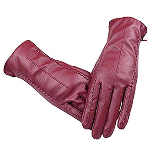 Long Keeper Guantes de Cuero de Invierno para Mujer Guantes Piel Con Función Pantalla Táctil para Conducir Moto (Rojo Vino)
