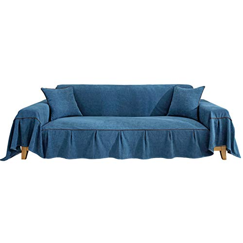 Ofgcfbvxd Sofa Protective Cover Volles Sofa-Cover-Kissen-Set Anti-Dog-Katze-Kratzer-Sofa-Cover einfaches universelles Sofa-Cover-Handtuch Furniture Accessories (Color : Blue, Size : 170x260cm)