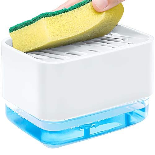 munloo Bomba para Dispensador de Jabón, Dispensador de Jabón 2 en 1 y Soporte de Esponja con Esponja de Bomba Recargable para Cocina (Blanco)