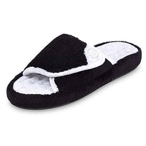 isotoner Women's Terry Spa Slip On Slide Slipper with Memory Foam for Indoor/Outdoor Comfort, Black, 9.5/10