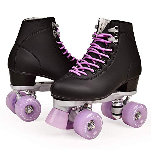 Roller Skates for Women PU Leather Double Row 4 Wheels High Top Indoor Outdoor Adult Quad Skates (Purple,8(Foot len:9.84in))