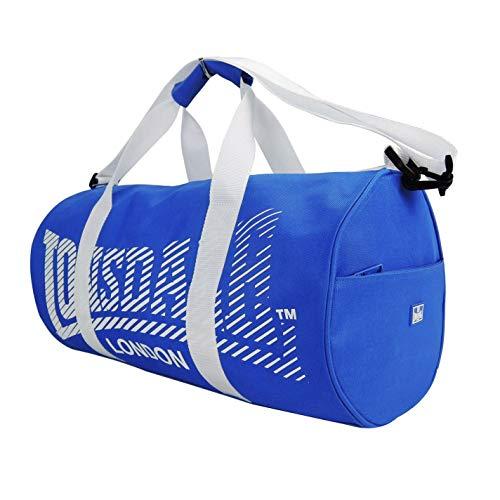 Bolsa de barril azul y blanco para entrenamiento de gimnasio al aire...
