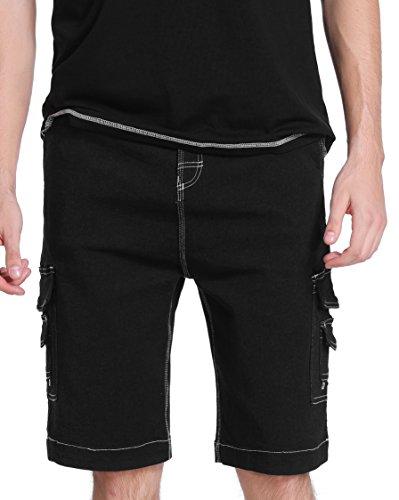 Vertvie Herren Cargo Shorts Bermuda Kurze Hose Strandhose Knielang (EU 54/Tag 40/Taille:110 cm, Schwarz)