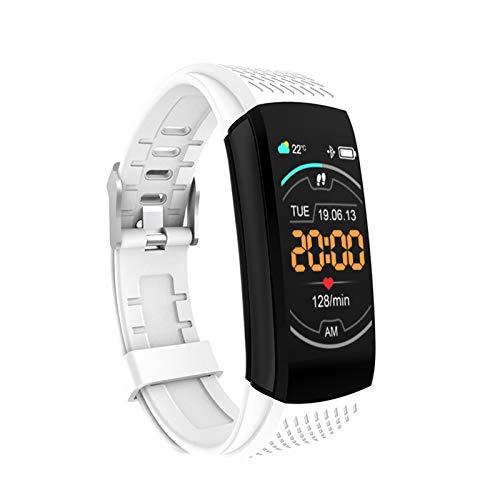 Pulsera inteligente Sinjes, medición de temperatura, pasos de ejercicio, vibración de reloj despertador, detección de frecuencia cardíaca, detección de salud de la pulsera (blanco)