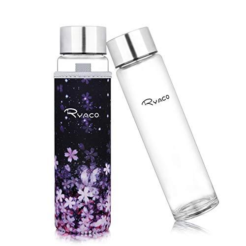 Ryaco Botella de Agua Cristal 420ml, Botella de Agua Reutilizable 14 oz, Sin BPA Antideslizante Protección Neopreno Llevar Manga y Cepillo de Esponja (420ml, Sakura Romántica)