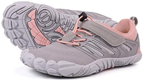 WHITIN Zapatilla Minimalista de Barefoot Trail Running para Hombre Mujer Five Fingers Fivefingers Zapato Descalzo Correr Deportivas Fitness Gimnasio Calzado Asfalto Gris Rosado 39