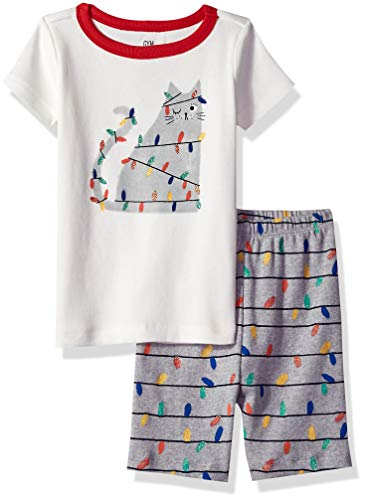 Gymboree Baby Girls 2-Piece Tight Fit Short Sleeve Short Bottoms Pajama Set, cat Holiday Light, 2T
