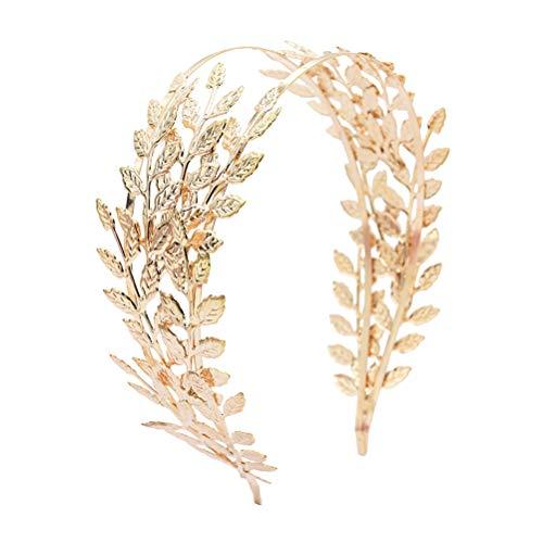 Beaupretty Römische Göttin Blatt Stirnband Hochzeit Braut Tiara Haarband Braut Haar Krone Boho Kopfschmuck für Party (Golden)