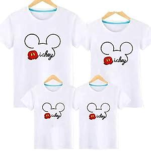 親子T-shirt ディズニー Tシャツ お誕生日 結婚お祝い ペアルック Tシャツ ミッキー 親子 ペア 男の子 女の子 親子服 半袖 キャラクタ 可愛い カジュアル 夏 (大人L, ホワイト)