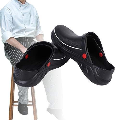 Zuecos de seguridad antideslizantes Zapatos Material EVA Sandalias de chef Zapatos Zapatos de cocina Blanqueamiento impermeable Día lluvioso(41)