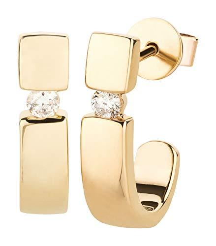 Ardeo Aurum Damen Ohrringe-Creolen aus 375 Gold Gelbgold mit 0,10 ct Diamant Brillant Spannfassung Halb-Creolen Ohrstecker