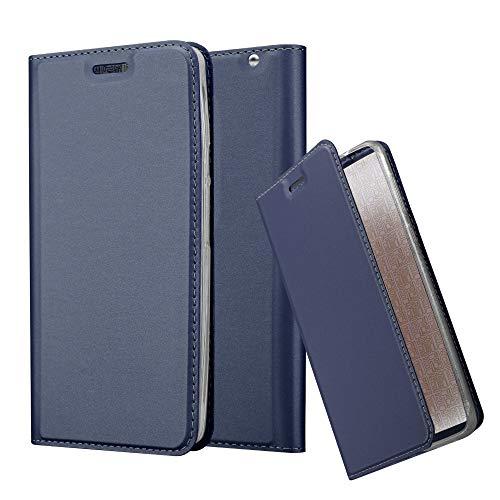 Cadorabo Hülle für Motorola Moto X Play in Classy DUNKEL BLAU - Handyhülle mit Magnetverschluss, Standfunktion & Kartenfach - Hülle Cover Schutzhülle Etui Tasche Book Klapp Style