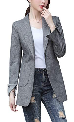 Genhoo Women's Long Sleeve Blazer Open Front Jacket Work Office Casual Suit Blazer with Zip Pockets Petite Off-White S