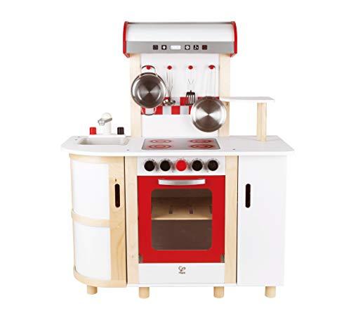 Hape E8018 - Küchentraum, Kinderküche inklusive Zubehör (Topf, Pfanne, Pfannenwender und Schöpflöffel), Spielküche aus Holz